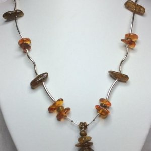 Baltic Amber, natural green and cognac, Sterling Silver