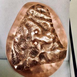 Copper, Foldformed, etched, hammered, brooch