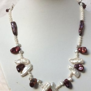 Fresh water pearls, burgandy color and white, sterling silver