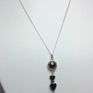 "Hematite, sterling silver with 16"" sterling silver chain"