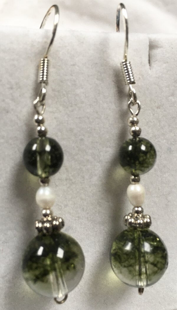 Moss Explosion crystal, Freshwater Pearl, Sterling Silver