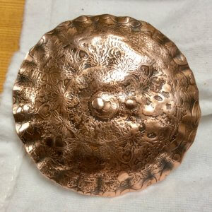 Copper, etched Scottish targe