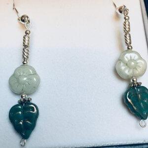 Vintage Czech Glass, Silver Earrings