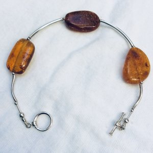 Baltic Amber bracelet, sterling silver