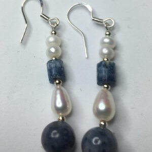 Blue Ridge Coral, Freshwater Pearl, Sterling silver