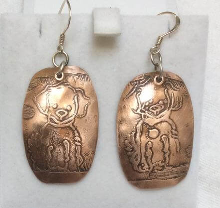 Copper etched dogs, sterling silver