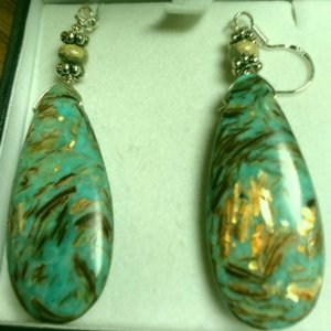 Cyan Impression Jasper, Silver Earrings
