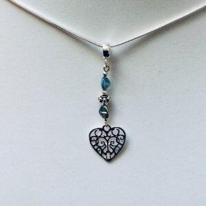 "Sterling Silver heart, vintage czech crystal,18"" sterling silver snake chain"