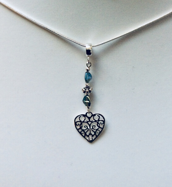 "Sterling Silver heart, vintage czech crystal,18"" sterling silver snake chain"