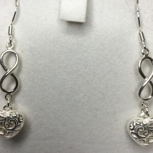 silver hearts infinity earrings