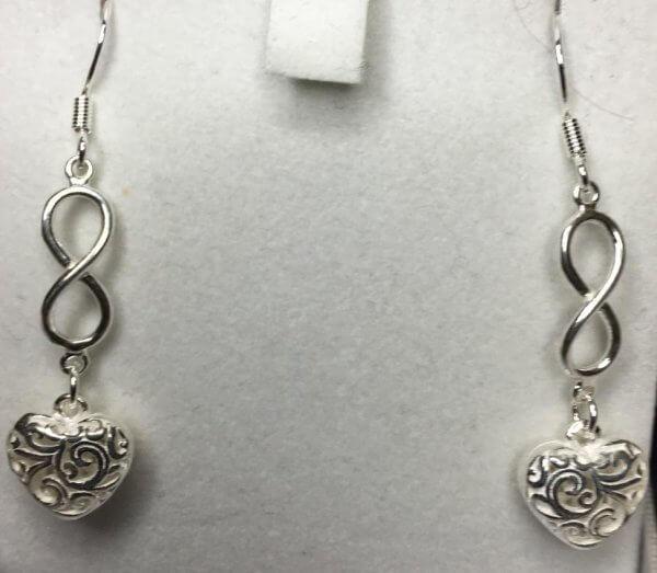 silver hearts infinity earrings