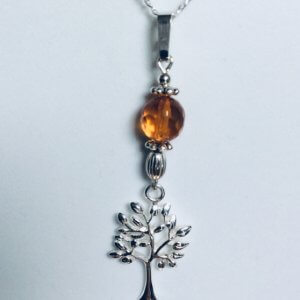 "Sterling Silver, Tree of Life, Baltic amber, 18"" sterling silver chain"