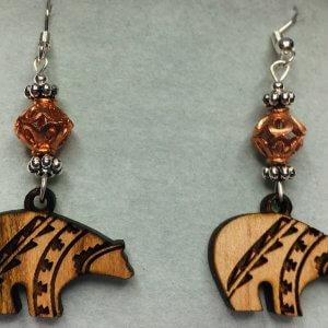 Wooden Zuni Bears, Copper, Sterling silver earrings