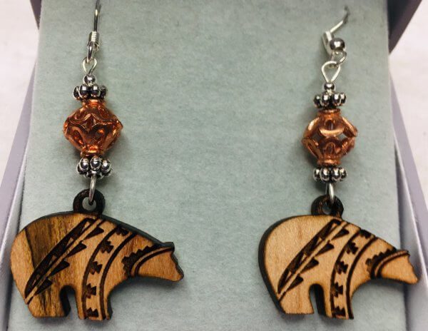 Wooden Zuni Bears, Copper, Sterling silver earrings