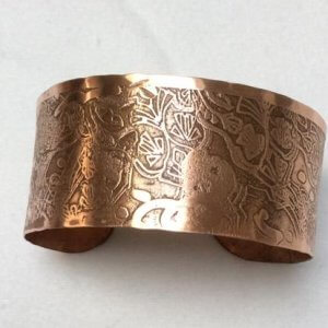 Copper etched bangle