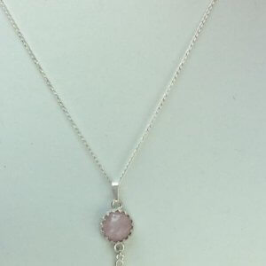 "Kunzite and sterling siver. 16"" sterling silver chain"