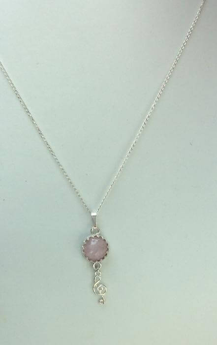 """Kunzite and sterling siver. 16"""" sterling silver chain"""