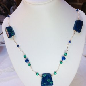 Lapis Lazuli, Malachite, sterling silver necklace