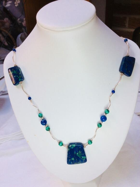 Lapis Lazuli, Malachite, sterling silver necklace