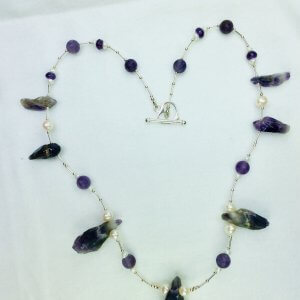 Dogtooth amethyst, freshwater pearls, sterling silver