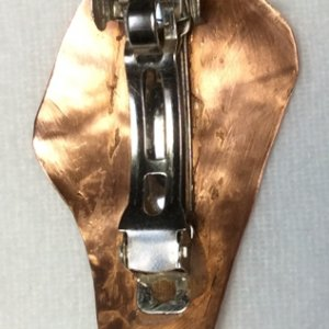 copper, etched bagpipes hairslide,back