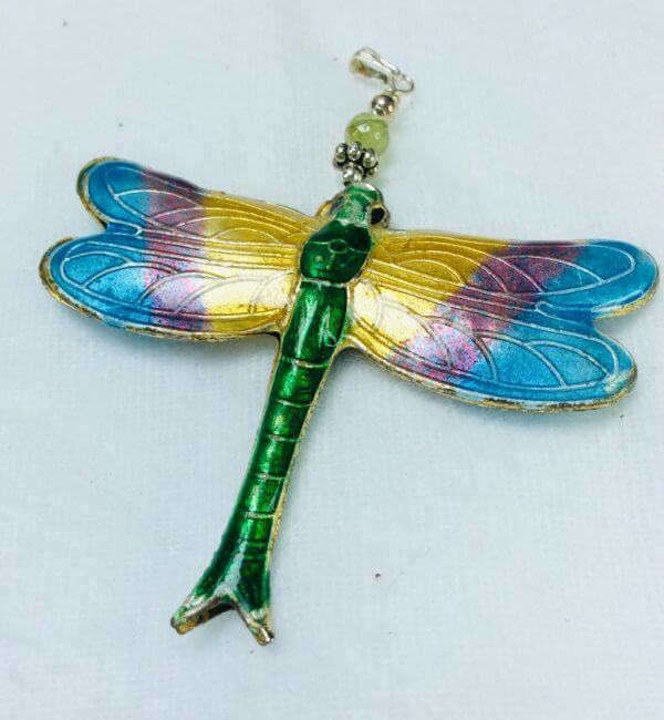 Chinese Cloisonne Dragonfly, sterling silver, apetite