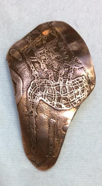 copper, etched bagpipes hairslide,barrette