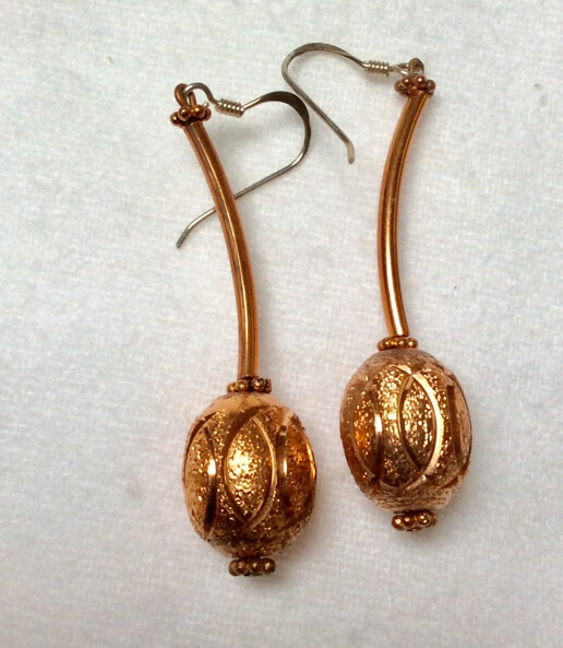 copper earrings, sterling silver