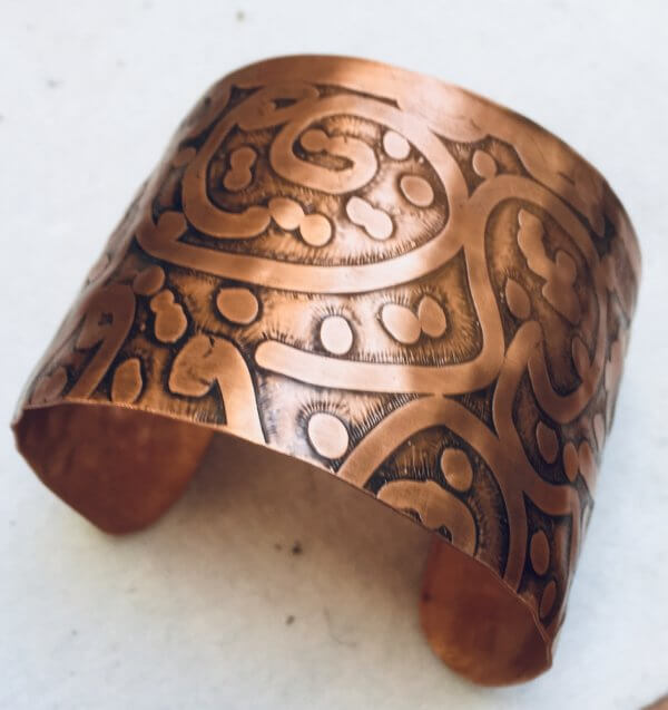Copper etched bangle large
