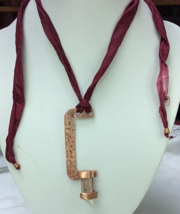 etched copper, quartz crystal, silk