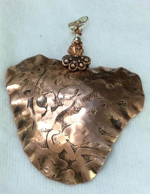 Copper Etched, sterling silver pendant