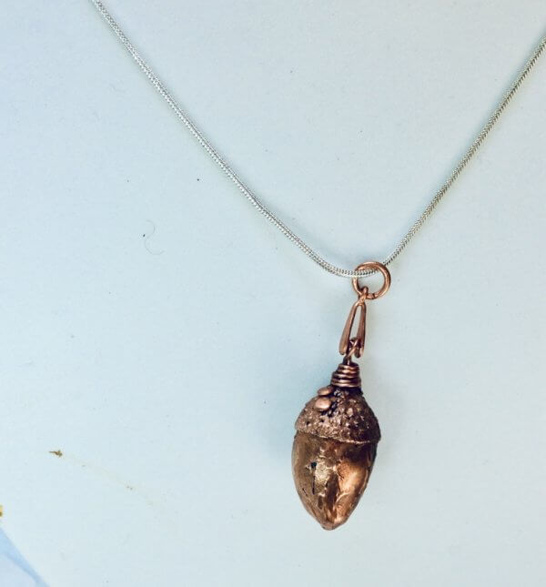 "Electroformed, copper natural acorn, 18"" sterling silver snake chain"