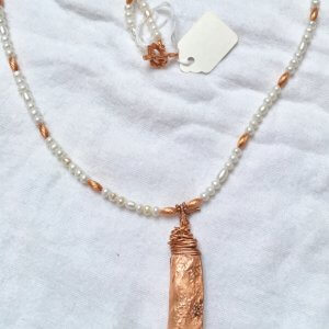 Copper, Electroformed pea pod, freshwater pearls, copper