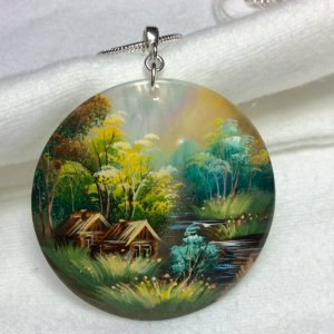 Hand painted landscape on shell, sterling silver snake chain 20""