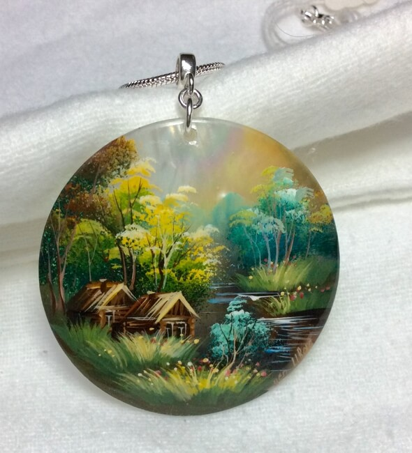 """Hand painted landscape on shell, sterling silver snake chain 20"""""""