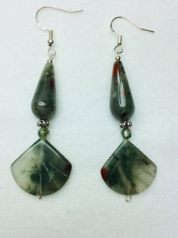 Moss and Blood agate, sterling silver