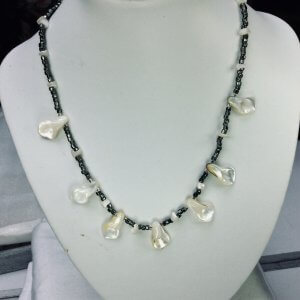 Mother of pearl, japanese seed beads, sterling silver