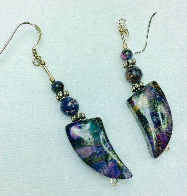 Purple sea sediment jasper, sterling silver
