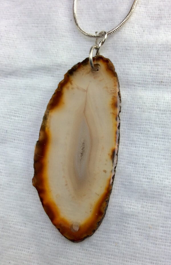Agate slice, sterling silver, sterling silver snake chain