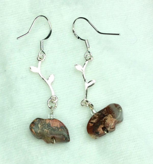 Apple jasper tiny buffalo, sterling silver