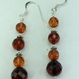 Baltic amber faceted, sterling silver