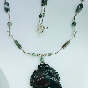 Blood agate, Moss agate sterling silver