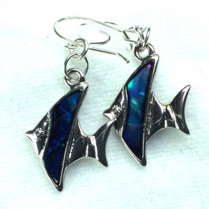 Blue green abalone shell angel fish silver plate, sterling silver