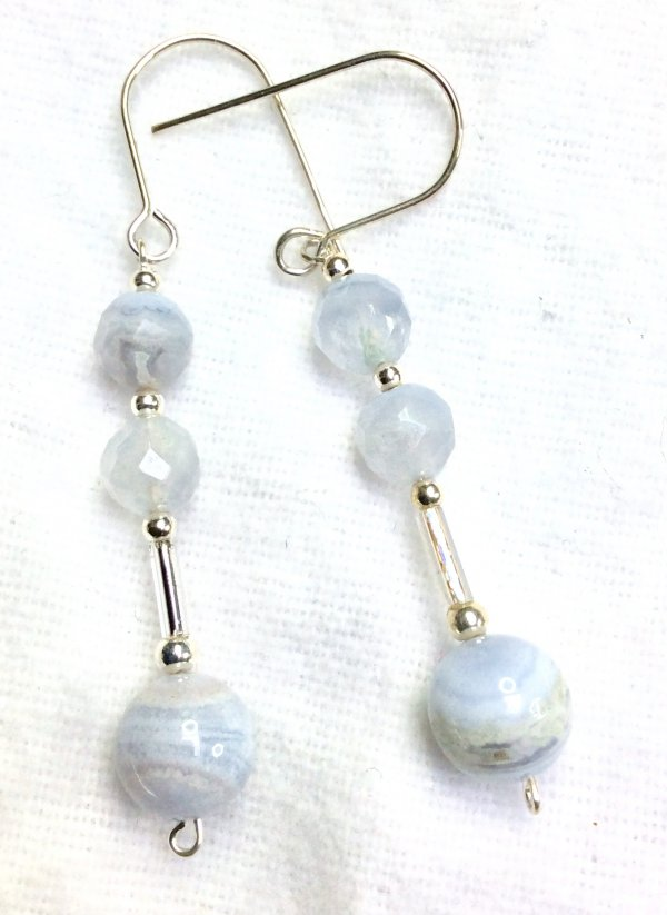 Blue lace agate, sterling silver