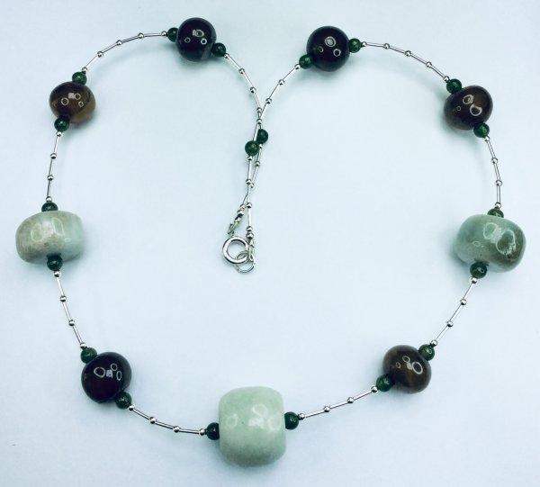 Burmah jade, sterling silver