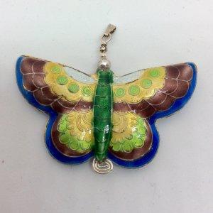 Cloisonee butterfly, sterling silver