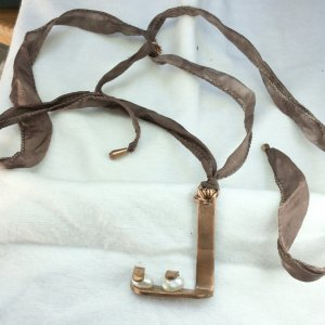 Copper, freshwater pearl, silk