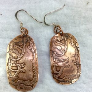 Copper etched bears, sterling silver
