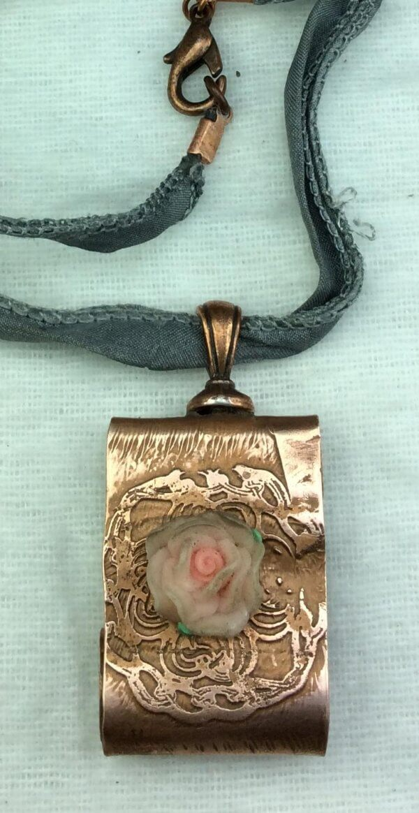 Copper etched flower, silk