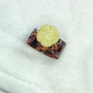 Copper ring (recycled copper) olive jade
